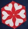 Květy se srdcem šestiúhelníkový polštářek